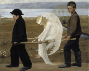 """""""The Wounded Angel - Hugo Simberg"""" by Hugo Simberg - Unknown. Licensed under Public domain via Wikimedia Commons - http://commons.wikimedia.org/wiki/File:The_Wounded_Angel_-_Hugo_Simberg.jpg#mediaviewer/File:The_Wounded_Angel_-_Hugo_Simberg.jpg"""